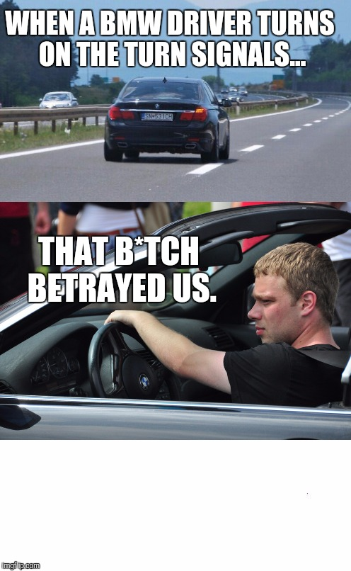 plain white tall | WHEN A BMW DRIVER TURNS ON THE TURN SIGNALS... THAT B*TCH BETRAYED US. | image tagged in plain white tall | made w/ Imgflip meme maker