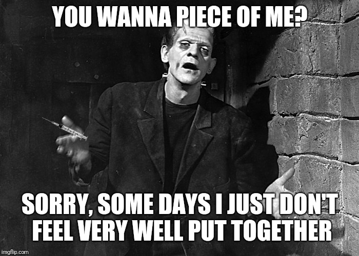 YOU WANNA PIECE OF ME? SORRY, SOME DAYS I JUST DON'T FEEL VERY WELL PUT TOGETHER | made w/ Imgflip meme maker