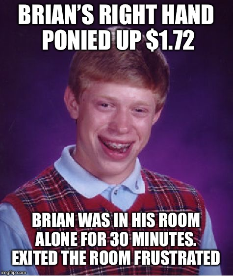 Bad Luck Brian Meme | BRIAN'S RIGHT HAND PONIED UP $1.72 BRIAN WAS IN HIS ROOM ALONE FOR 30 MINUTES.  EXITED THE ROOM FRUSTRATED | image tagged in memes,bad luck brian | made w/ Imgflip meme maker