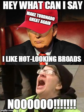 Trump Hat No | HEY WHAT CAN I SAY NOOOOOO!!!!!!! I LIKE HOT-LOOKING BROADS MAKE TURDNADO GREAT AGAIN | image tagged in trump hat no | made w/ Imgflip meme maker