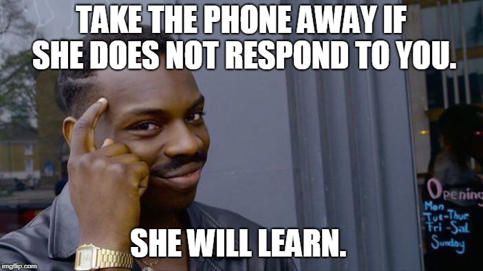 Roll Safe Think About It Meme | TAKE THE PHONE AWAY IF SHE DOES NOT RESPOND TO YOU. SHE WILL LEARN. | image tagged in memes,roll safe think about it | made w/ Imgflip meme maker