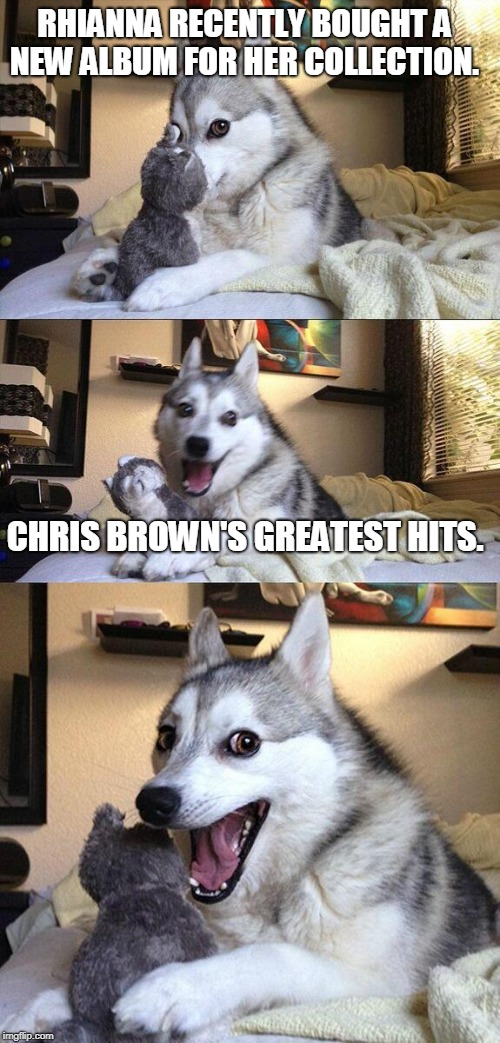 Bad Pun Dog Meme | RHIANNA RECENTLY BOUGHT A NEW ALBUM FOR HER COLLECTION. CHRIS BROWN'S GREATEST HITS. | image tagged in memes,bad pun dog | made w/ Imgflip meme maker