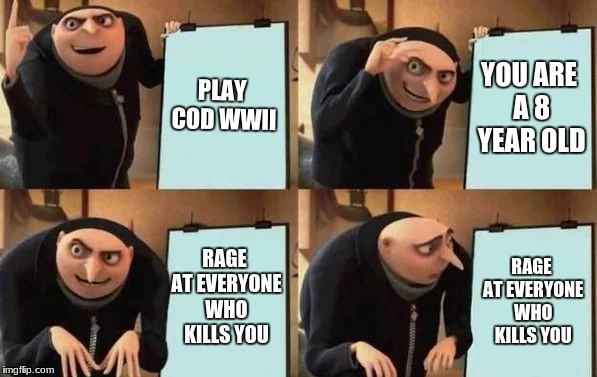 I actually hate these kids. | PLAY COD WWII YOU ARE A 8 YEAR OLD RAGE AT EVERYONE WHO KILLS YOU RAGE AT EVERYONE WHO KILLS YOU | image tagged in gru's plan,call of duty,wwii | made w/ Imgflip meme maker