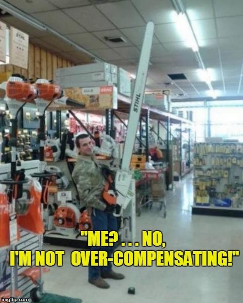 "Sure! | ""ME? . . . NO, I'M NOT  OVER-COMPENSATING!"" 