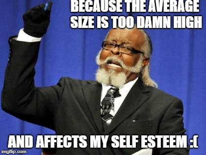Too Damn High Meme | BECAUSE THE AVERAGE SIZE IS TOO DAMN HIGH AND AFFECTS MY SELF ESTEEM :( | image tagged in memes,too damn high | made w/ Imgflip meme maker