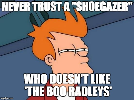 "Futurama Fry Meme | NEVER TRUST A ""SHOEGAZER"" WHO DOESN'T LIKE 'THE BOO RADLEYS' 