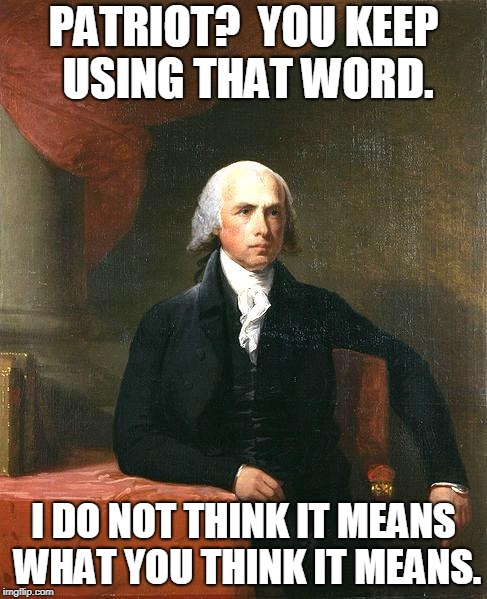 James Madison | PATRIOT?  YOU KEEP USING THAT WORD. I DO NOT THINK IT MEANS WHAT YOU THINK IT MEANS. | image tagged in james madison | made w/ Imgflip meme maker