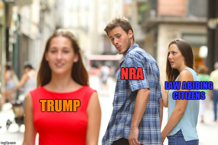Distracted Boyfriend Meme | TRUMP NRA LAW ABIDING CITIZENS | image tagged in memes,distracted boyfriend | made w/ Imgflip meme maker
