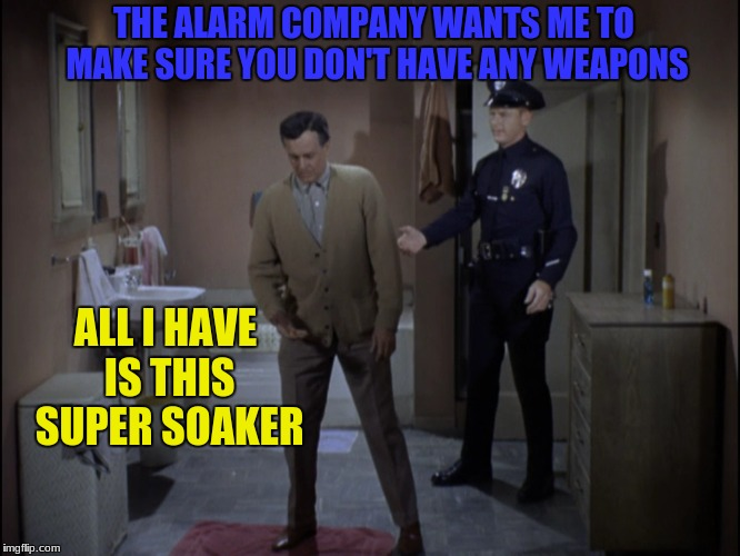 THE ALARM COMPANY WANTS ME TO MAKE SURE YOU DON'T HAVE ANY WEAPONS ALL I HAVE IS THIS SUPER SOAKER | made w/ Imgflip meme maker