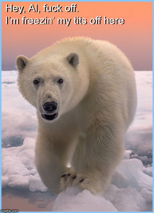 Freezin' my tits off here | image tagged in al gore troll,global warming hoax,global warming,current events,politics lol,cute animals | made w/ Imgflip meme maker