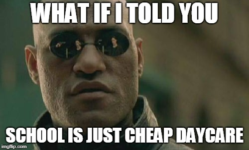 Matrix Morpheus Meme | WHAT IF I TOLD YOU SCHOOL IS JUST CHEAP DAYCARE | image tagged in memes,matrix morpheus | made w/ Imgflip meme maker