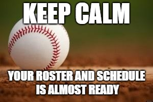 Baseball | KEEP CALM YOUR ROSTER AND SCHEDULE IS ALMOST READY | image tagged in baseball | made w/ Imgflip meme maker