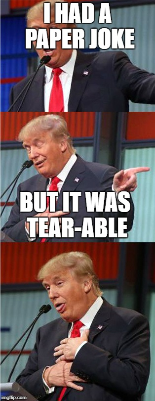 Bad Pun Trump | I HAD A PAPER JOKE BUT IT WAS TEAR-ABLE | image tagged in bad pun trump | made w/ Imgflip meme maker