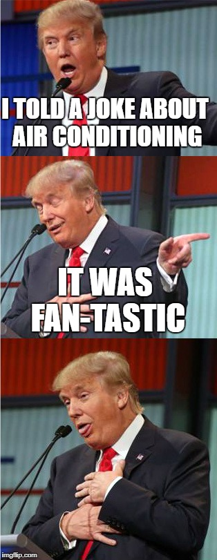 Bad Pun Trump | I TOLD A JOKE ABOUT AIR CONDITIONING IT WAS FAN-TASTIC | image tagged in bad pun trump | made w/ Imgflip meme maker
