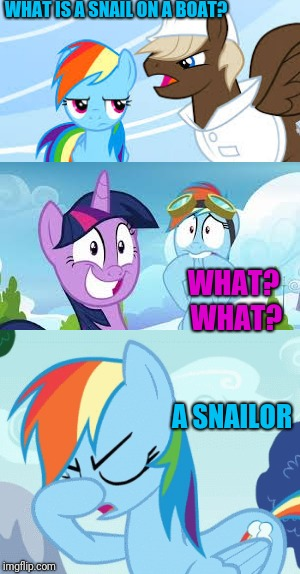 My Little Pony Week | WHAT IS A SNAIL ON A BOAT? A SNAILOR WHAT? WHAT? | image tagged in my little pony | made w/ Imgflip meme maker