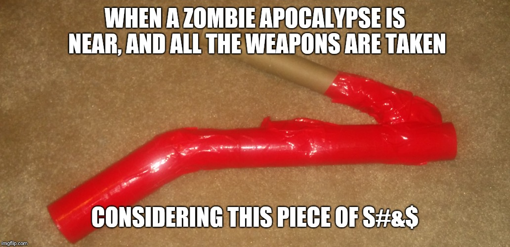 WHEN A ZOMBIE APOCALYPSE IS NEAR, AND ALL THE WEAPONS ARE TAKEN CONSIDERING THIS PIECE OF S#&$ | image tagged in crap,zombie apocalypse,science project,custom template | made w/ Imgflip meme maker