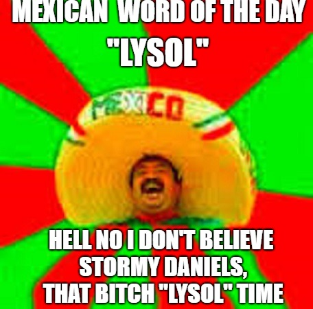 "Mexican word of the day | MEXICAN  WORD OF THE DAY ""LYSOL"" HELL NO I DON'T BELIEVE STORMY DANIELS, THAT B**CH ""LYSOL"" TIME 