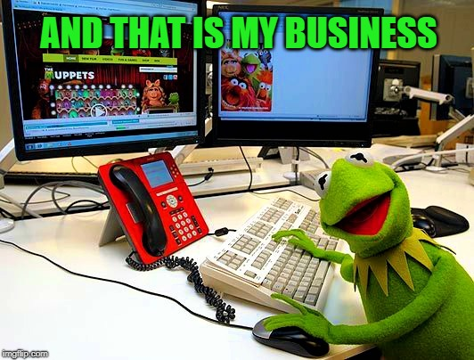 Kermit realized that some things are important and they are his business so he put down his teacup and got on his computer | AND THAT IS MY BUSINESS | image tagged in and that is my business,but thats none of my business,memes,social media,meme comments,liberal vs conservative | made w/ Imgflip meme maker