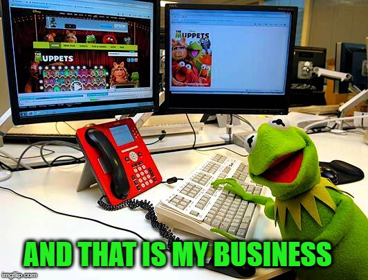 Kermit realized that some things are important they are his business so he put down his teacup and got on his computer (bottom) | AND THAT IS MY BUSINESS | image tagged in and that is my business,memes,but thats none of my business,liberal vs conservative,social media,meme comments | made w/ Imgflip meme maker