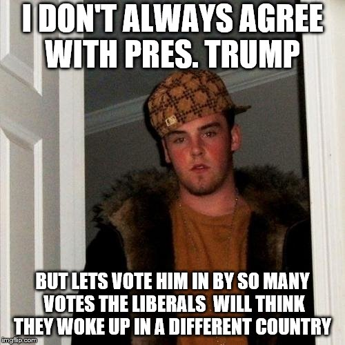 Scumbag Steve Meme | I DON'T ALWAYS AGREE WITH PRES. TRUMP BUT LETS VOTE HIM IN BY SO MANY VOTES THE LIBERALS  WILL THINK THEY WOKE UP IN A DIFFERENT COUNTRY | image tagged in memes,scumbag steve | made w/ Imgflip meme maker
