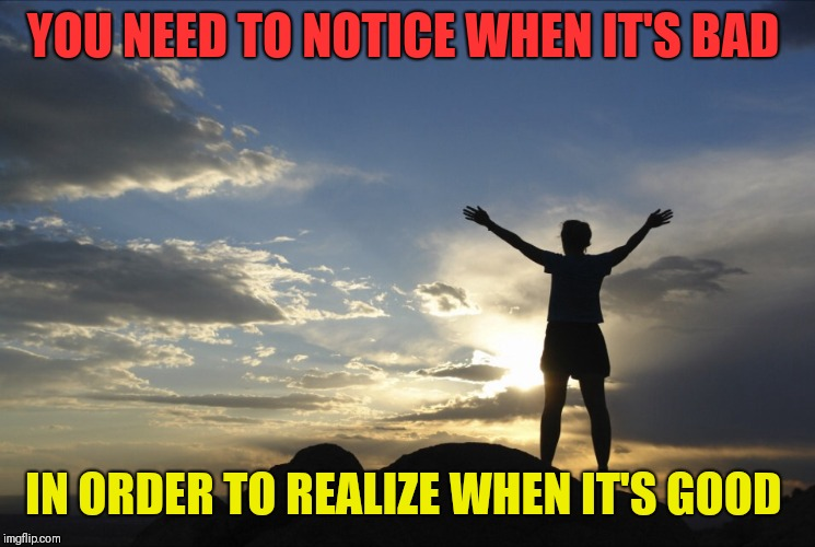 Inspirational  | YOU NEED TO NOTICE WHEN IT'S BAD IN ORDER TO REALIZE WHEN IT'S GOOD | image tagged in inspirational | made w/ Imgflip meme maker