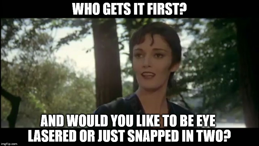 Look at the people of planet Houston. | WHO GETS IT FIRST? AND WOULD YOU LIKE TO BE EYE LASERED OR JUST SNAPPED IN TWO? | image tagged in ursula,superman 2,general zod,nom,superpowers,supermeme | made w/ Imgflip meme maker