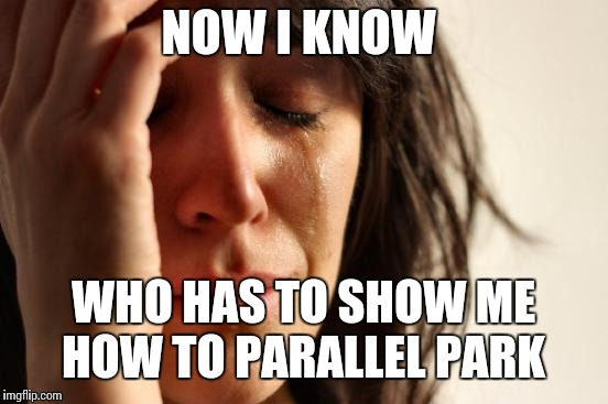 First World Problems Meme | NOW I KNOW WHO HAS TO SHOW ME HOW TO PARALLEL PARK | image tagged in memes,first world problems | made w/ Imgflip meme maker