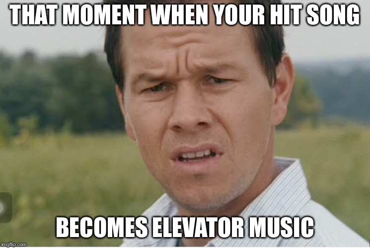 THAT MOMENT WHEN YOUR HIT SONG BECOMES ELEVATOR MUSIC | image tagged in confusion | made w/ Imgflip meme maker