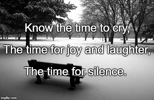 Know the time to cry, The time for silence. The time for joy and laughter, | image tagged in silence | made w/ Imgflip meme maker