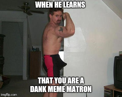 Boner City | WHEN HE LEARNS THAT YOU ARE A DANK MEME MATRON | image tagged in dank memes,boner,funny memes | made w/ Imgflip meme maker