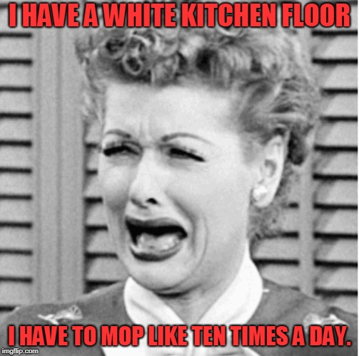 I HAVE A WHITE KITCHEN FLOOR I HAVE TO MOP LIKE TEN TIMES A DAY. | image tagged in lucy crying | made w/ Imgflip meme maker