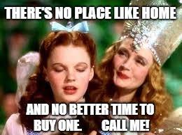 wizard of oz | THERE'S NO PLACE LIKE HOME AND NO BETTER TIME TO BUY ONE.        CALL ME! | image tagged in wizard of oz | made w/ Imgflip meme maker