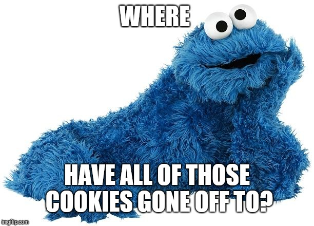 Cookie Monster | WHERE HAVE ALL OF THOSE COOKIES GONE OFF TO? | image tagged in cookie monster | made w/ Imgflip meme maker