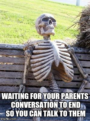 Waiting Skeleton Meme | WAITING FOR YOUR PARENTS CONVERSATION TO END SO YOU CAN TALK TO THEM | image tagged in memes,waiting skeleton | made w/ Imgflip meme maker