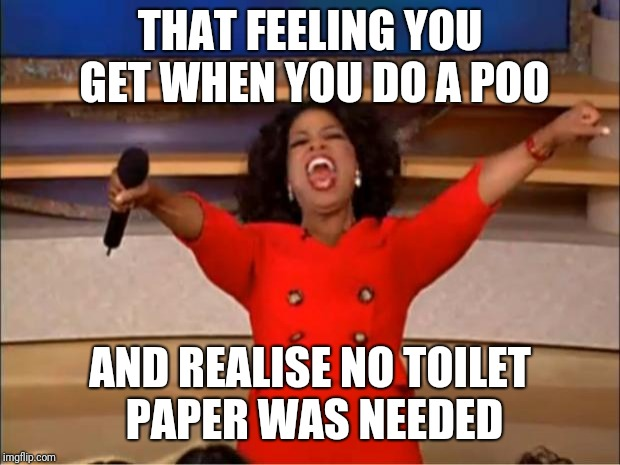 Oprah You Get A Meme | THAT FEELING YOU GET WHEN YOU DO A POO AND REALISE NO TOILET PAPER WAS NEEDED | image tagged in memes,oprah you get a | made w/ Imgflip meme maker