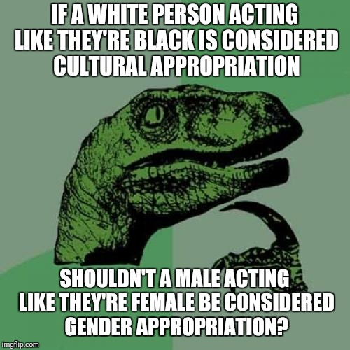 Philosoraptor Meme | IF A WHITE PERSON ACTING LIKE THEY'RE BLACK IS CONSIDERED CULTURAL APPROPRIATION SHOULDN'T A MALE ACTING LIKE THEY'RE FEMALE BE CONSIDERED G | image tagged in memes,philosoraptor | made w/ Imgflip meme maker