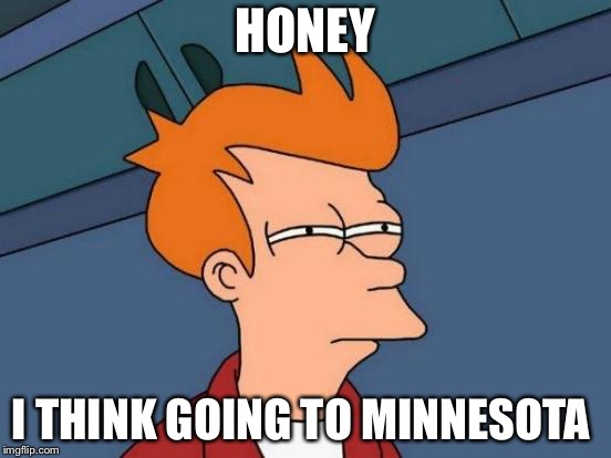 Futurama Fry Meme | HONEY I THINK GOING TO MINNESOTA | image tagged in memes,futurama fry | made w/ Imgflip meme maker