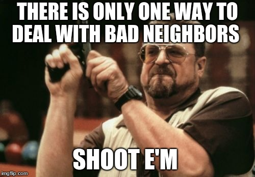 Am I The Only One Around Here Meme | THERE IS ONLY ONE WAY TO DEAL WITH BAD NEIGHBORS SHOOT E'M | image tagged in memes,am i the only one around here | made w/ Imgflip meme maker