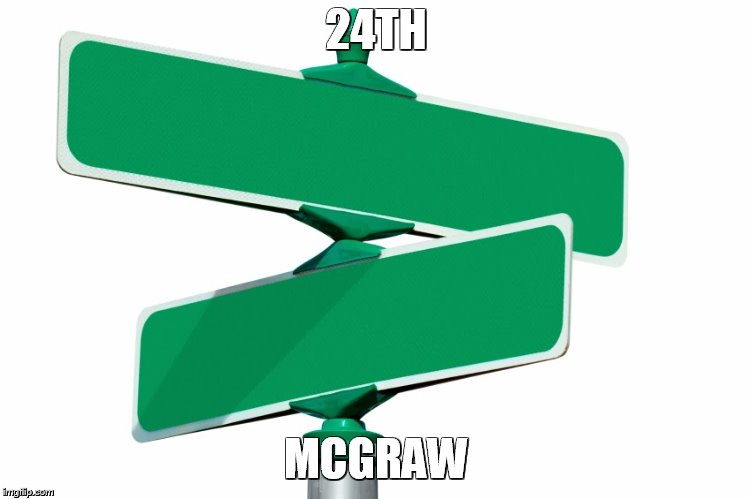 Blank Street Signs | 24TH MCGRAW | image tagged in blank street signs | made w/ Imgflip meme maker