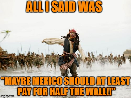 "Am I wrong?? | ALL I SAID WAS ""MAYBE MEXICO SHOULD AT LEAST PAY FOR HALF THE WALL!!"" 