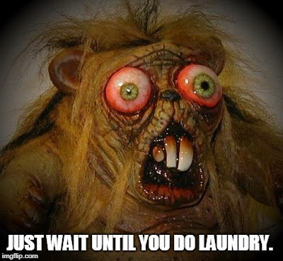 OMG It can't be! The horror!  | JUST WAIT UNTIL YOU DO LAUNDRY. | image tagged in omg it can't be the horror | made w/ Imgflip meme maker