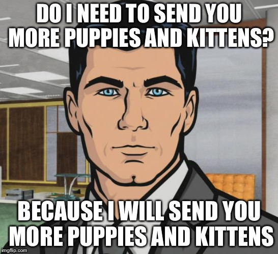 A girl I know was sad one day, so I sent her a picture of a puppy and a kitten. I'm prepared for the next time. | DO I NEED TO SEND YOU MORE PUPPIES AND KITTENS? BECAUSE I WILL SEND YOU MORE PUPPIES AND KITTENS | image tagged in memes,archer | made w/ Imgflip meme maker