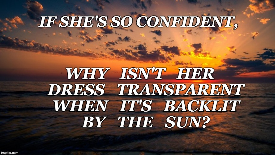 IF SHE'S SO CONFIDENT, WHY   ISN'T   HER   DRESS   TRANSPARENT   WHEN   IT'S   BACKLIT   BY   THE   SUN? | made w/ Imgflip meme maker