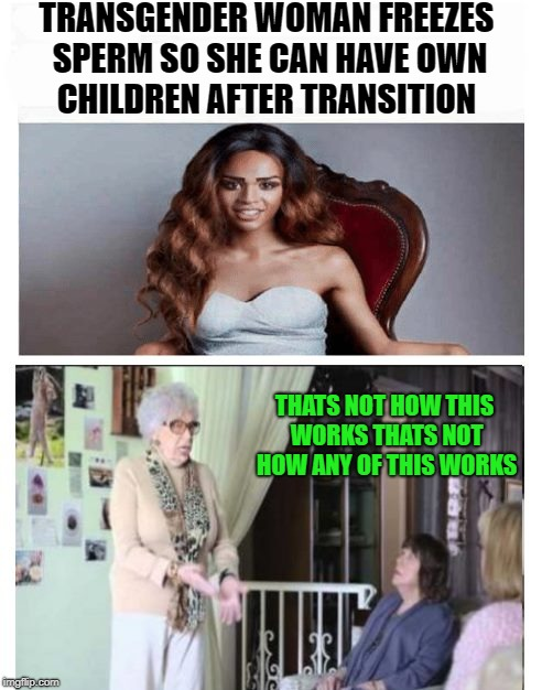 transgender woman freezes sperm | TRANSGENDER WOMAN FREEZES SPERM SO SHE CAN HAVE OWN CHILDREN AFTER TRANSITION THATS NOT HOW THIS WORKS THATS NOT HOW ANY OF THIS WORKS | image tagged in funny memes,transgender | made w/ Imgflip meme maker