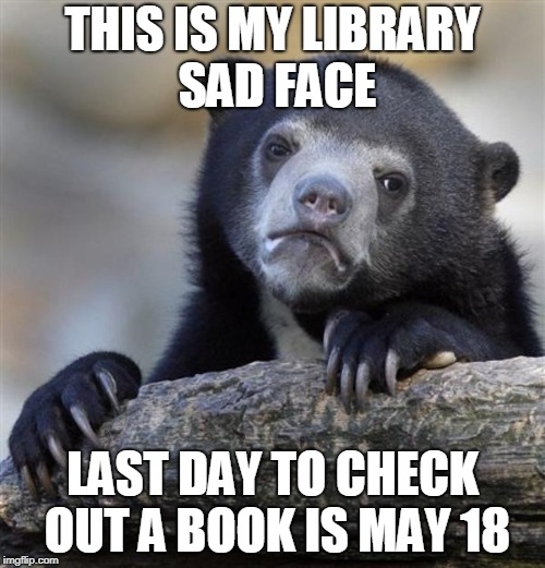 sad bear | THIS IS MY LIBRARY SAD FACE LAST DAY TO CHECK OUT A BOOK IS MAY 18 | image tagged in sad bear | made w/ Imgflip meme maker