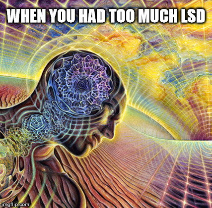 High For Days | WHEN YOU HAD TOO MUCH LSD | image tagged in lsd,drugs | made w/ Imgflip meme maker