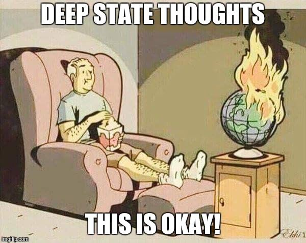world burns | DEEP STATE THOUGHTS THIS IS OKAY! | image tagged in world burns | made w/ Imgflip meme maker