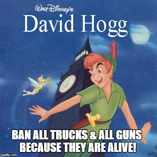 BAN ALL TRUCKS & ALL GUNS BECAUSE THEY ARE ALIVE! | image tagged in peterpanhogg | made w/ Imgflip meme maker