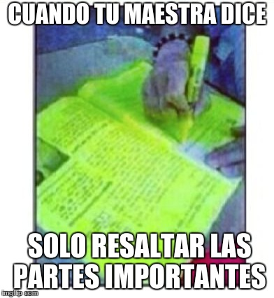 CUANDO TU MAESTRA DICE SOLO RESALTAR LAS PARTES IMPORTANTES | image tagged in spanish | made w/ Imgflip meme maker