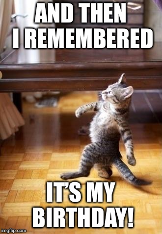 Cool Cat Stroll Meme | AND THEN I REMEMBERED IT'S MY BIRTHDAY! | image tagged in memes,cool cat stroll | made w/ Imgflip meme maker